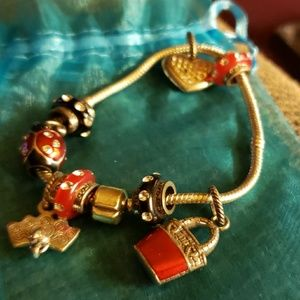 Red and black charms bracelet
